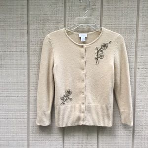 Ann Taylor LOFT beaded wool cream cardigan, S